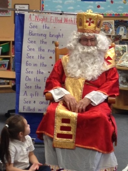 SCCS students were very excited to have St. Nick visit the school.